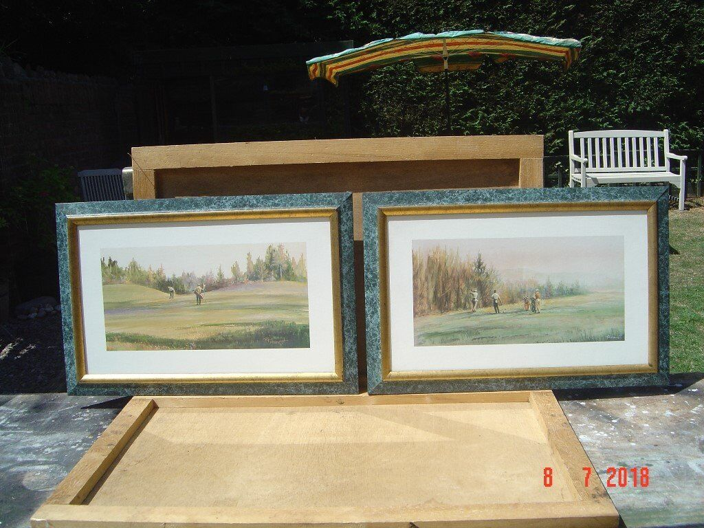 Two Golfing Prints Signed By Artist Rf Harnett 10 The Pair Can