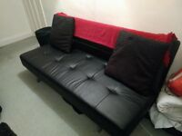 Black Leather Sofa bed to sell! Originally £400 from Dwell! Now only £50!