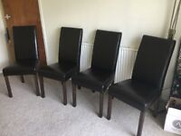 BARGAIN!! SET OF FOUR DARK BROWN FAUX LEATHER DINING CHAIRS