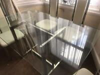 Glass table ( thick Glass ) + 6 chairs