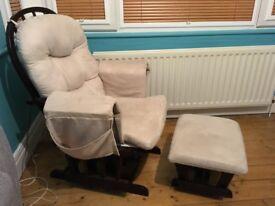KUB Haywood Dark Brown Glider Chair and Footstool (Light Beige Upholstery)