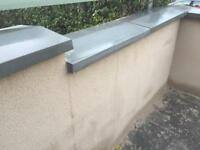 5x twice weathered grey cement wall coping stones