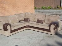 Very nice 1 month old brown and beige cord large corner sofa. clean and tidy. can deliver