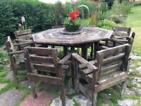 Solid Wooden Garden Table & eight Chairs