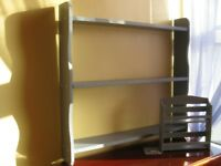Modern grey colour real wood shelf painted+waxed. Size: W-78.3cm x D-12cm x H-75cm + Gift.