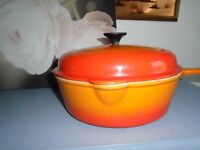 le creuset volcnic orange pan with lid