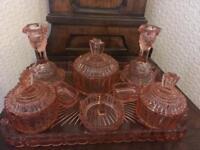 Vintage Cut Glass Dressing Table Set