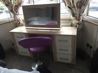 Cream and light wood bedroom furniture