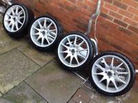 17 Alloy Wheels & Tyres 4x108 PCD 4 Stud Offset ET 42 Audi Ford Citroen Peugeot Saab Volvo Mazda