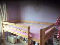 Pine Wooden Cabin Bed with cabin curtains in very good condition