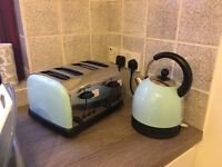Matching duck egg stainless steel kettle and 4 slice toaster