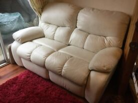 Ivory White Leather 2 seater recliner settee
