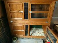 Large double rabbit or guinea pig hutch