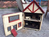 Antique / Vintage Dolls House - With Dolls House Vintage Furniture - Tano Toys - Good Condition