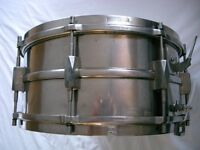 "Premier Dominion Major NOB snare drum - 14 x 6 1/2"" - England - Vintage - Modded"
