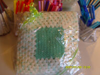 "**BRAND NEW & GIFT WRAPPED** hand crocheted green & cream blanket - 27"" square"