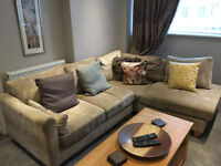 Right Hand Facing Corner Sofa for sale. Beige fabric. Quick sale to make room for new sofa