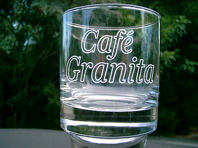 "CAFE' GRANITA COFFEE FROSTED LOGO 3.25"" TALL GLASS NEW CLEARANCE PRICE"