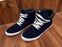 Men's Sonneti blue hi-top trainers, size 8