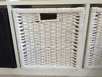 Ikea rattan baskets for bookcase - white & black