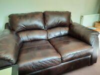 2 seater plush genuine brown leather