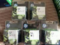Hp 57 tri-colour and Hp 56 black ink cartridges 5 packs brand new