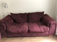 Free 3 Seater Sofa and Armchair - Burgundy