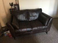 Two Lovely Pigmented Leather Sofas & Leather Footstool For Sale Due To Relocation
