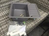 Silgranit Sink In Grey, Including Fittings - Brand New