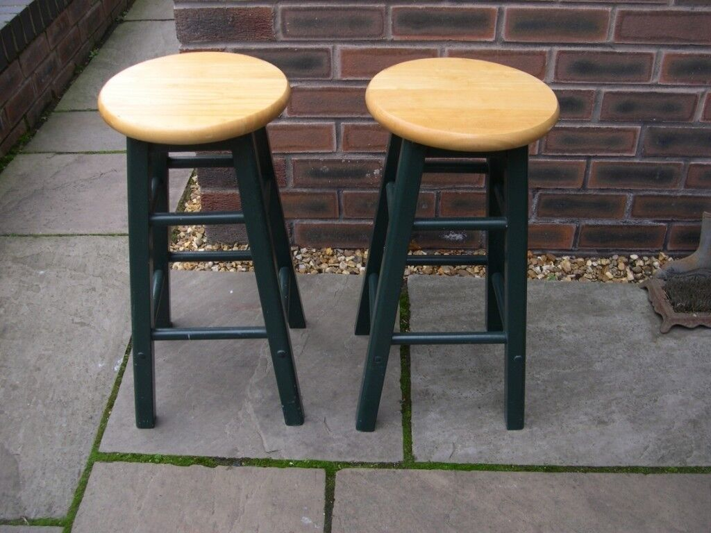 Outstanding Two Four Legged Wooden Stools Painted Dark Green In Warrington Cheshire Gumtree Ibusinesslaw Wood Chair Design Ideas Ibusinesslaworg