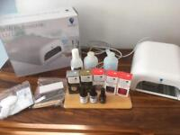 Home Shellac/gel nails kit with professional 36w lamp, polishes & accessories