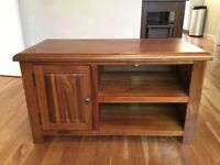 Dark Wood TV Stand Table with storage cupboard and shelves