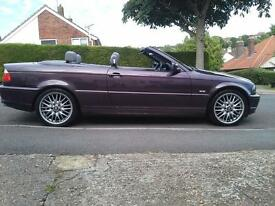 BMW CONVERTIBLE 77K MILES FSH 1YRS MOT RARE COLOUR £2395. DOVER.
