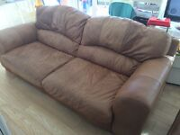 3 seater large brown real leather sofa