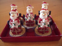 NEW 5 Santa,Father Christmas tea lights - ideal for decorating the house this Xmas! £3.50 ovno lot