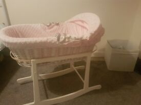 Pink moses basket with white rocking frame