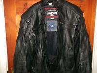 Womens motorcycle jacket, trousers, boots & helmet.
