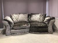 Crushed velvet snuggle corner sofa settee silver