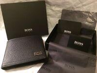 "NEW HUGO BOSS ""MANPRIO"" SOFT GRAINED BLACK LEATHER BI-FOLD BOX WITH BOSS PRESENTATION BOX"