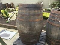 2 x very large whiskey barrels ,very rare ,good garden item or pub table .