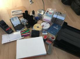 Large box of home office supplies