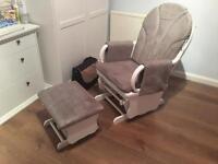 Gliding rocking nursing chair and stool