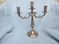 Vintage Metal Candelabra Cande Holder 3 Armed Possibly Silver Plate Foldable Home Decor Wedding