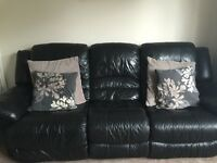 Black leather 3 seater and 2 seater reclining sofas