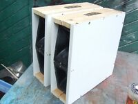 4 horn drivers in 2 boxes with crossovers included. Approx 30 watts each.Good quality heavy units.