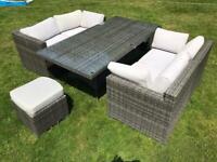 Moda Furnishings Rattan Garden Furniture Table, Chairs, Stools