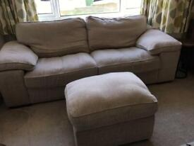 Two seat sofa and foot stool
