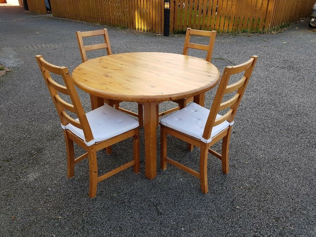 Solid Pine Round Dining Table 4 Ikea High Ladder Back Chairs Free Delivery 816