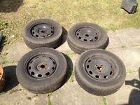 """Vw Mk4 Golf standard 15"""" steel wheels with tyres"""