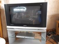 HD READY Samsung TV and DVD Player with stand